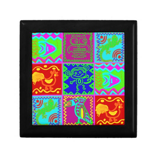 Colorful Bold Funky Animals Patchwork Pattern Trinket Box