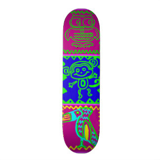 Colorful Bold Funky Animals Patchwork Pattern Skate Boards