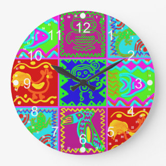 Colorful Bold Funky Animals Patchwork Pattern Wallclock