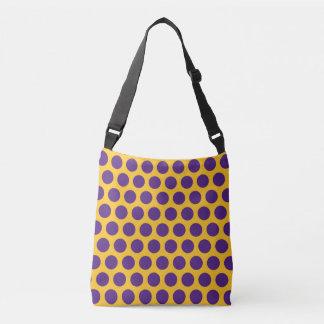Colorful Bold Purple Polka Dots on Gold Bag Tote Bag