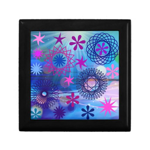 Colorful Bold Stars and Light Rays Funky Design Jewelry Box