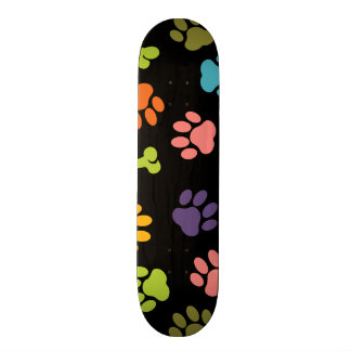 Colorful Bones and Puppy Paw Prints 18.1 Cm Old School Skateboard Deck