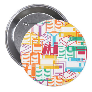 Colorful books binders pattern 7.5 cm round badge
