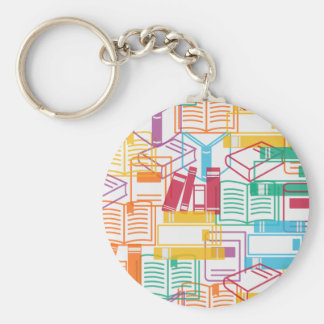 Colorful books binders pattern basic round button key ring