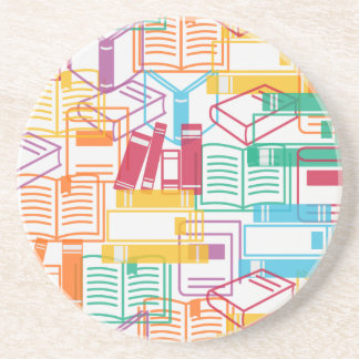 Colorful books binders pattern drink coaster