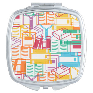 Colorful books binders pattern mirror for makeup