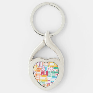 Colorful books binders pattern Silver-Colored twisted heart key ring