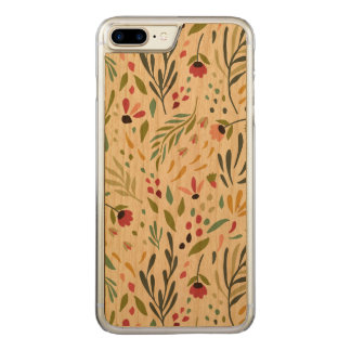 Colorful Botanical Flowers & Leafs Pattern Carved iPhone 8 Plus/7 Plus Case