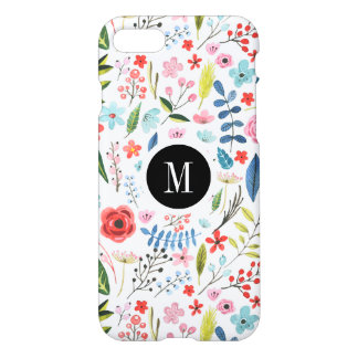 Colorful Botanical Flowers & Leafs Pattern iPhone 8/7 Case