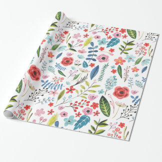 Colorful Botanical Leafs & Flowers Pattern Wrapping Paper