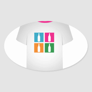 Colorful bottles on a shirt oval sticker