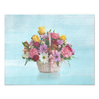 Colorful Bouquet in a Basket Photograph