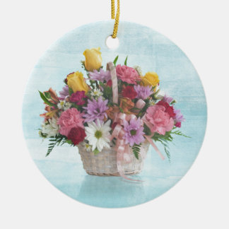 Colorful Bouquet in a Basket Round Ceramic Decoration