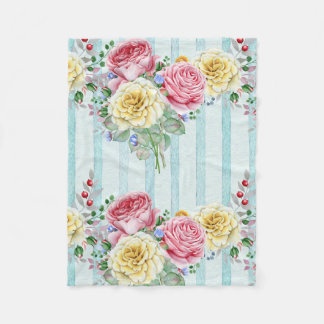 Colorful Bouquet Roses Fleece Blanket