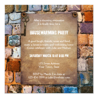 Colorful Brick Rustic Housewarming Party Invite