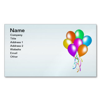 Colorful Bright Bunch of Balloons Magnetic Business Card