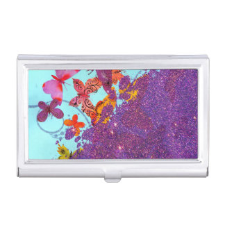 Colorful Bright Butterflies and Purple Glitter Business Card Holder