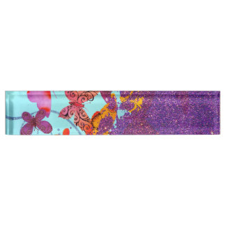 Colorful Bright Butterflies and Purple Glitter Nameplate