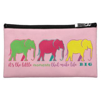 Colorful Bright Cartoon Elephants Vibrant Pink Makeup Bag
