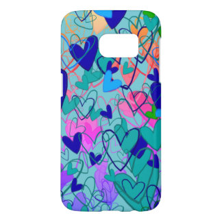 Colorful Bright Dramatic Hearts Girly Blue Cartoon