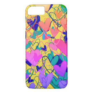 Colorful Bright Dramatic Hearts Girly Bold Cartoon iPhone 8/7 Case