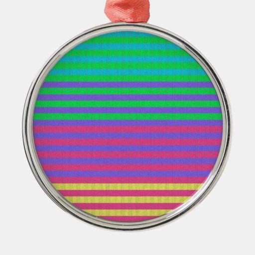 Colorful Bright Fabric Stripes Ornaments