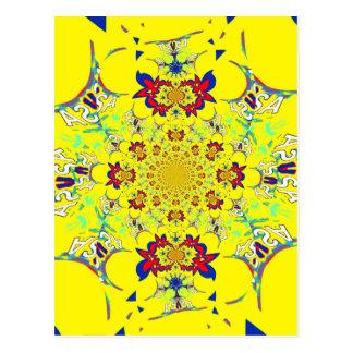Colorful Bright floral damask design Postcard