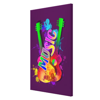 Colorful Bright Popping Guitar Music Paint Splats Gallery Wrap Canvas