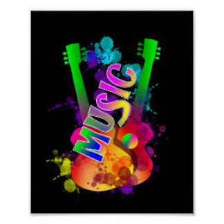 Colorful Bright Popping Guitar Music Paint Splats Poster