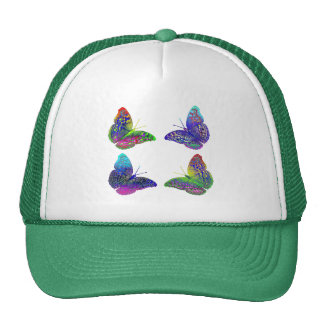 Colorful Bright Rainbow Colors Butterflies Drawing Cap