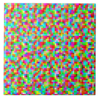 Colorful Bright Trendy Pixel Mosaic Pattern Large Square Tile