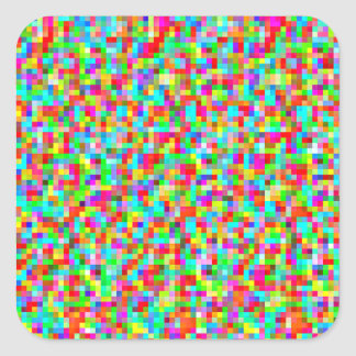 Colorful Bright Trendy Pixel Mosaic Pattern Square Sticker