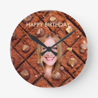 Colorful Brown Chocolate Cake - Smile Blond Girl, Round Clock
