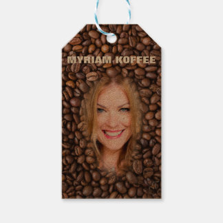 Colorful Brown Coffee Pattern - Smile Blond Girl, Gift Tags