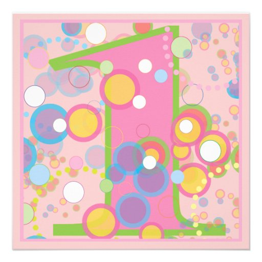 Colorful Bubbles 1st Birthday Party Invitation