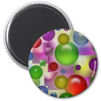 Colorful Bubbles And Squares 6 Cm Round Magnet