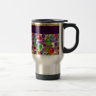 Colorful Bubbles And Squares Stainless Steel Travel Mug