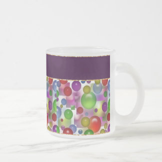 Colorful Bubbles Pattern Frosted Glass Coffee Mug