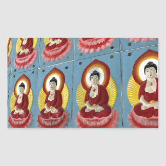 Colorful Buddha tiles in temple Rectangular Stickers