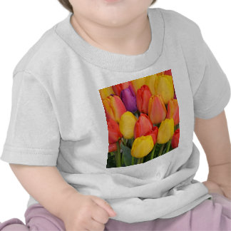Colorful bunch of spring tulips t-shirts