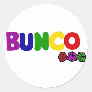 Colorful Bunco and Dice Art Round Sticker