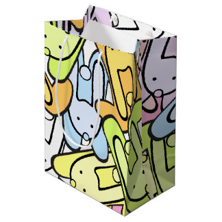 colorful bunnies medium gift bag