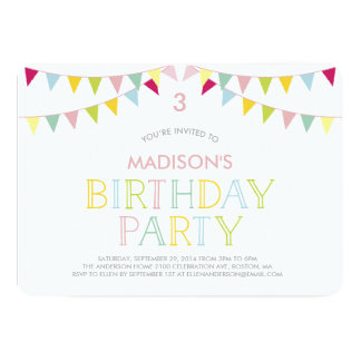 Colorful Bunting | Birthday Invitation
