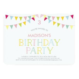 Colorful Bunting   Birthday Invitation
