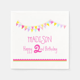 Colorful bunting kids 2nd birthday name napkins disposable napkin