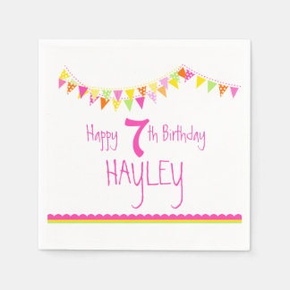 Colorful bunting kids 7th birthday name napkins disposable serviette