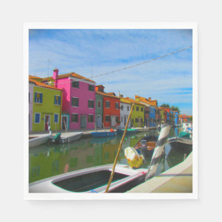 Colorful Burano Homes in Venice, Italy Napkins Disposable Napkins