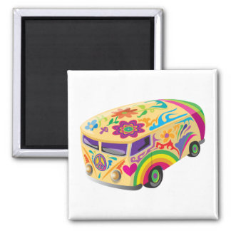 Colorful Bus Square Magnet