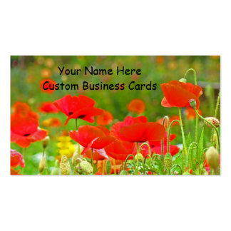 Colorful Business Cards Red Poppy Flowers