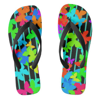 Colorful butterflies and bars flip flops
